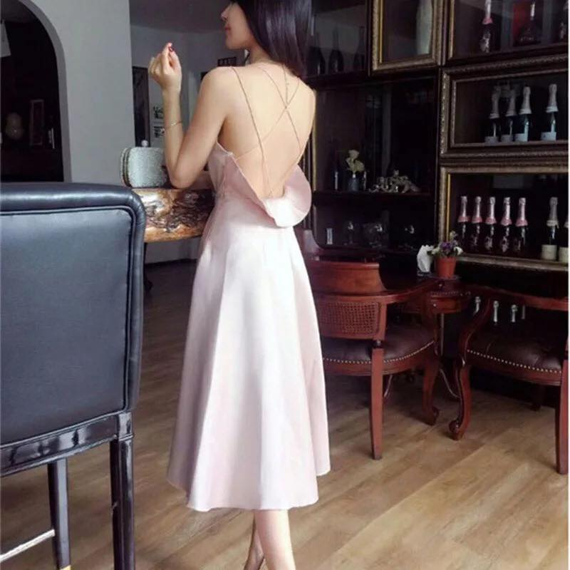 Gather Moments Low Back Graceful Satin Dress (Nude Pink)