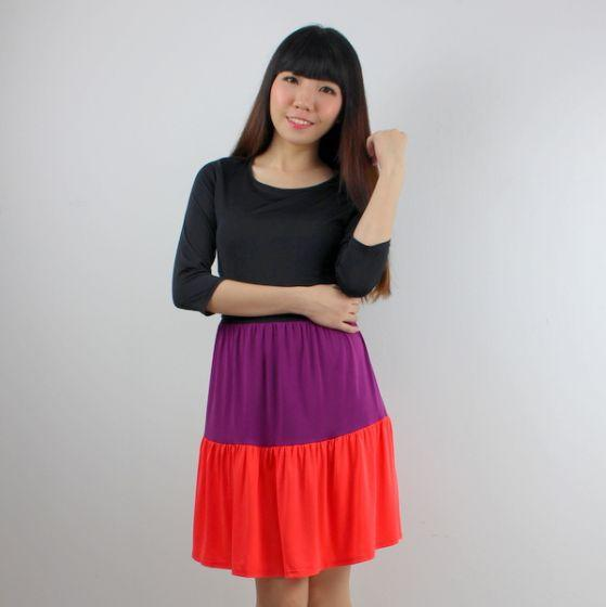 Triple Fun Short Nursing Dress (Orange)