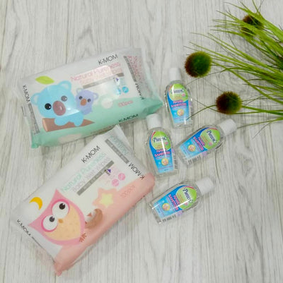K-Mom Natural Pureness Baby Wet Wipes Basic 100's + Free Pureen Hand Sanitizer [50ml]
