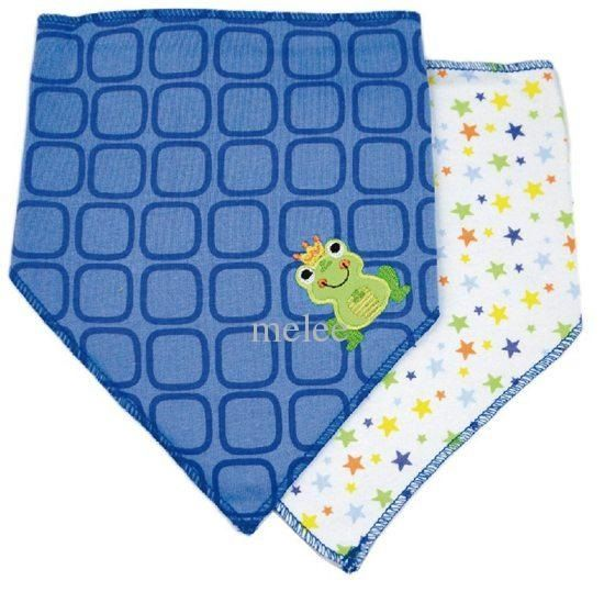 Luvable Friends 2pk Triangle Trendy Bibs (Frog)