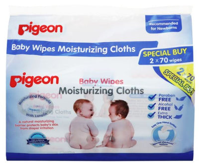 Pigeon Moisturizing Cloth Baby Wipes 70s (Twin Pack)