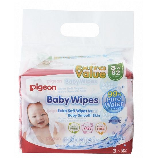 Pigeon Baby Wipes Pure Water 3 in 1 (82's)