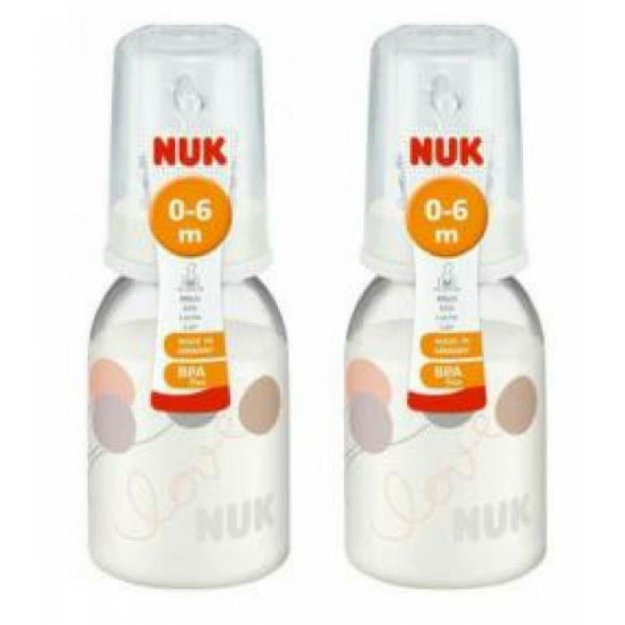 NUK CLASSIC PP 110ML BOTTLE WITH SILICONE TEAT (0-6M) - TWIN PACK + Free Classic PP 110ml Bottle with sillicone teat ( Assorted )