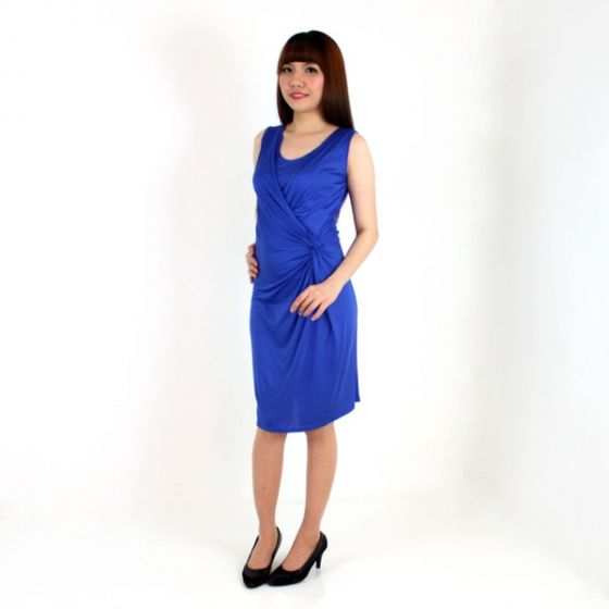 Sofia Wrap & Twist Nursing Dress (Blue)