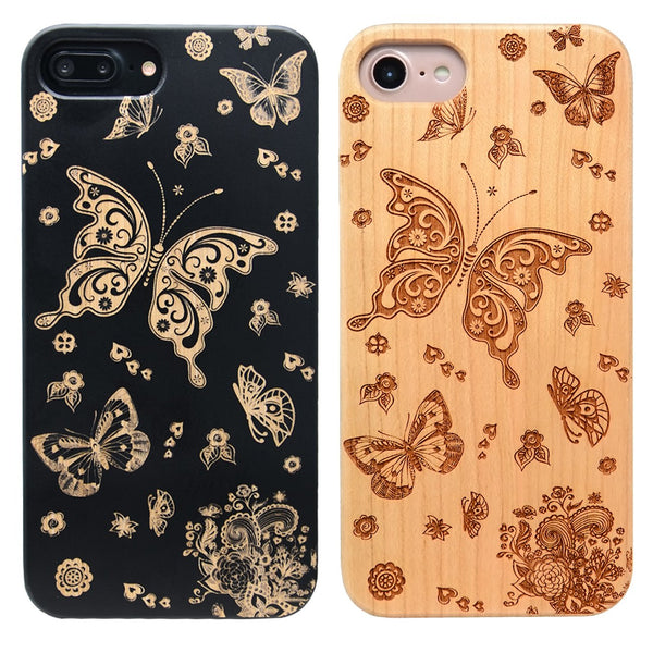 butterfly iPhone wooden phone case 6,7,8, Plus, X