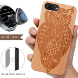 Owl Cherry Wood Case by iProducts US for iPhone