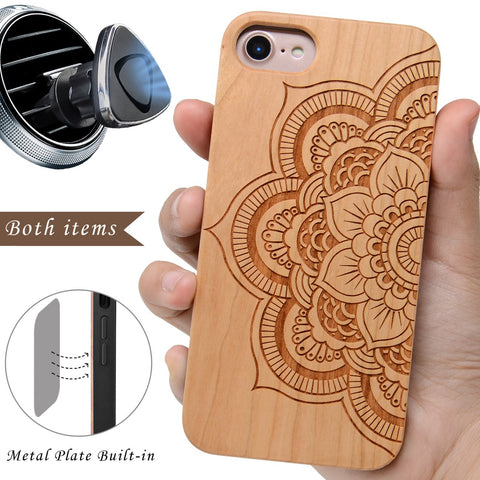 Sunflower Wooden Case By iProducts US for iPhone 6,6S,7,8,X,Plus