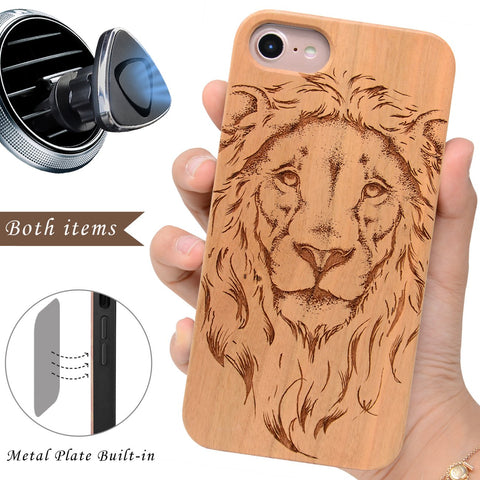 Lion and Leo Wood Case by iProducts US for iPhone