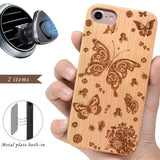 Butterfly Engraved Wooden Case Glass for iPhone