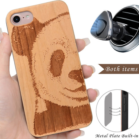 Panda Wood Engraved iPhone Case by iProducts US