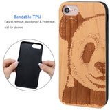 Panda Wooden Engraved iPhone case by iProducts US