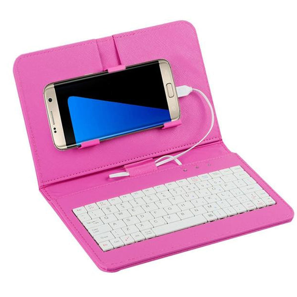 General Wired Keyboard Flip Holster Case For Andriod Mobile Phone 4.2''-6.8''