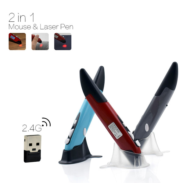 2-in-1 Mini Wireless USB Optical Pen Mouse with Laser Pointer