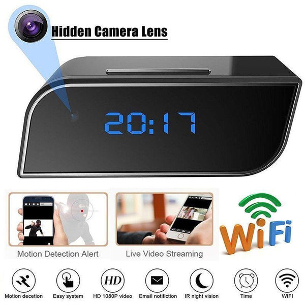 Alarm Clock with Hidden Camera and Motion Security