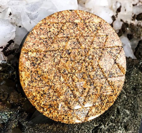 24K Sri Yantra Orgone Plate with Shungite