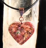 Violet Flame Orgone Pendant ~ Orgone Jewelry ~ Crystal Heart Necklace