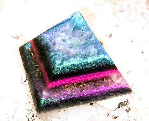 Violet Flame Orgone Pyramid ~ Orgone Alchemy Crystal Pyramid with Rainbow Moonstone