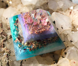 Turquoise, Purple, and Pink Orgone Crystal Pyramid