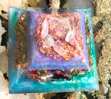 Orgonite crystal pyramid made with rose quartz, larimar, ajoite, pink tourmaline and chrysocolla