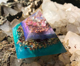 Orgonite crystal pyramid made with rose quartz, larimar, ajoite, pink tourmaline, chrysocolla, and copper