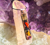 Elite Shungite Orgone Wand Pendant ~ Violet Flame Orgone Necklace