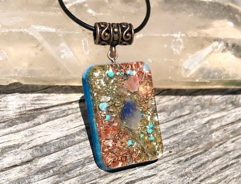 Throat Chakra Orgone Pendant ~ Blue Quartz and Turquoise Crystal Necklace