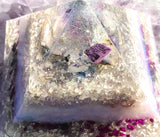 NEW! Large Violet Flame Orgone Pyramid ~ Meditation Altar Crystal Pyramid ~ Crown and Third Eye Chakra Crystals
