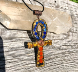Red, blue, and yellow Shungite Orgone Ankh Necklace with Lapis Lazuli