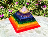 Medium Rainbow Chakra Orgone Pyramid ~ Violet Flame Orgone Crystal Pyramid
