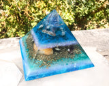 Mermaid Orgone Pyramid ~ Connect to the Wisdom of the Waters ~ Amethyst Pyramid with Larimar , Aquamarine, Abalone