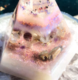 Violet Flame Orgone Pyramid ~ Water Blessings Crystal Pyramid ~ Lithium Quartz, Rose Quartz, Eudialyte, Ruby, Morganite