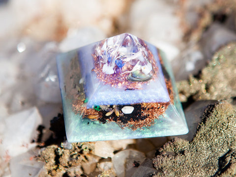 Orgone Pyramid ~ Calm the Nervous System Crystal Pyramid ~ Violet Flame Orgone