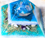 Lemurian Quartz Mermaid Orgone Pyramid ~ Connect to the Wisdom of the Waters ~ Amethyst Pyramid with Larimar , Aquamarine, Abalone