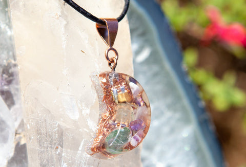 Aventurine Good Luck Orgone Moon Pendant ~ Crystal Necklace