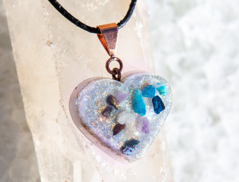 Fairy Heart Pendant ~ Violet Flame Orgone Necklace ~ Fairy Goddess Crystal Heart Necklace