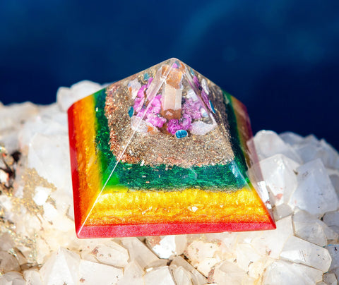 Follow Your Bliss Orgone Pyramid ~ Violet Flame Orgone Crystal Pyramid