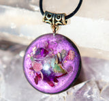 Violet Flame Orgone Pendant ~ Heart Chakra Crystal Necklace ~ Orgone Jewelry