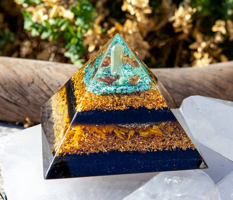 Large Orgone Pyramid ~ 24K Gold, Citrine and Turquoise Crystal Pyramid