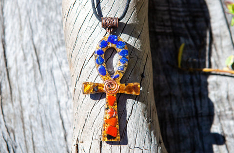 SPECIAL! Shungite Orgone Ankh Necklace with Lapis Lazuli ~ Violet Flame Orgone Crystal Jewelry