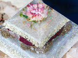 Heart Chakra Orgone Pyramid ~ Violet Flame Orgone  ~ Red Rose Crystal Pyramid