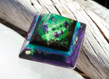 Violet Flame Orgone Pyramid ~ Alchemist Crystal Pyramid ~ Amethyst, Malachite and Shungite Pyramid