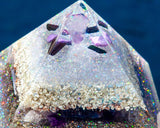Violet Flame Orgone Pyramid / Angel Realms Large Crystal Pyramid / Angelic Guide Meditation Pyramid