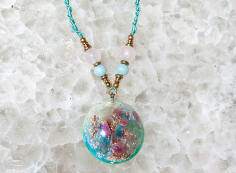 Goddess Pendant Orgone Necklace ~ Heart Chakra Crystals ~ Orgone Crystal Pendant