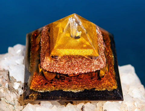 Large EMF Protection Orgone Crystal Pyramid with Black Kyanite, Elite Shungite and Amethyst