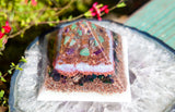Large Violet Flame Orgone Pyramid with Crystals for Women to Balance Hormones, Strengthen the Body and Open the Heart Chakra