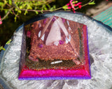 Large Rose Quartz Orgone Heart Chakra Crystal Pyramid