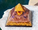 24K Large Orgone Pyramid ~ Citrine Manifestation Crystal Pyramid