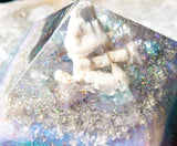 Mermaid Crystals Large Orgone Pyramid / Connect to the Wisdom of the Waters / Coral, Aquamarine, Larimar