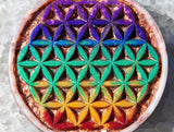 Orgone Rainbow Flower of Life Plate ~  Violet Flame Orgone Crystal Charging Plate