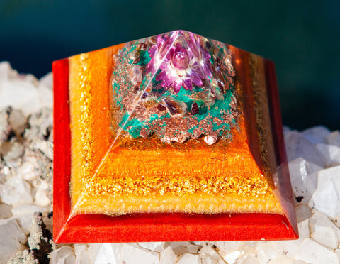 Violet Flame Orgone ~ Fall 2019 Large Crystal Pyramid  ~ Energizing Crystal Pyramid